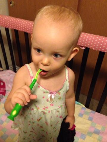 Brushing those teeth!